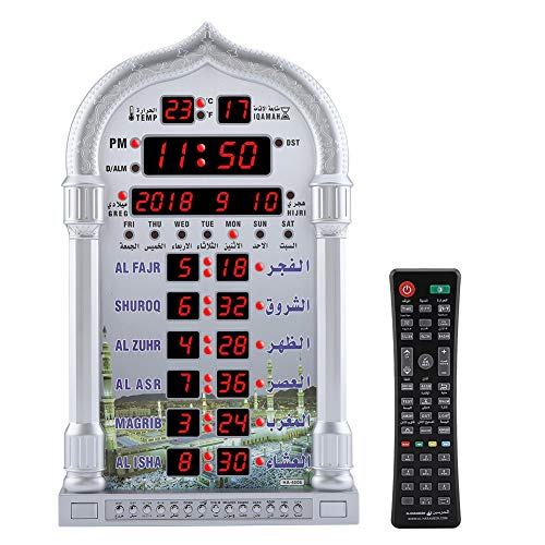 Azan Gebetstisch Wecker, Digitale Automatische Betende Wanduhr Manuelle Fernbedienung Gebetsuhr Muslim Islamischen AZAN Betende Uhr für Zuhause/Büro/Moschee, 110-240 V