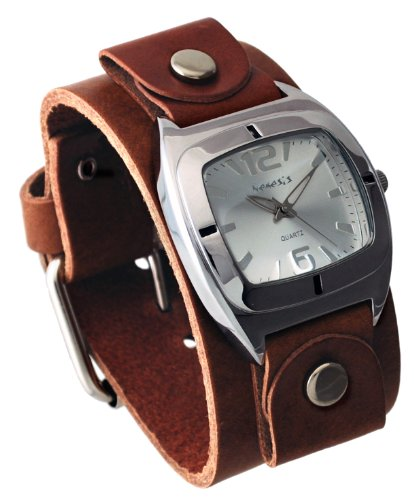 Nemesis #BGB090S Unisex Retro Collection Shorter Length Wide Leather Cuff Band Watch