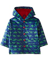 Toby Tiger Boys Hooded Cotton Blue Dinosaur Animal Print Raincoat