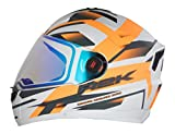 #3: Steelbird R2K Night Vision Helmet Matt Finish with Day Night Dual Action Visor (Large 600 MM, Matt White/Orange)