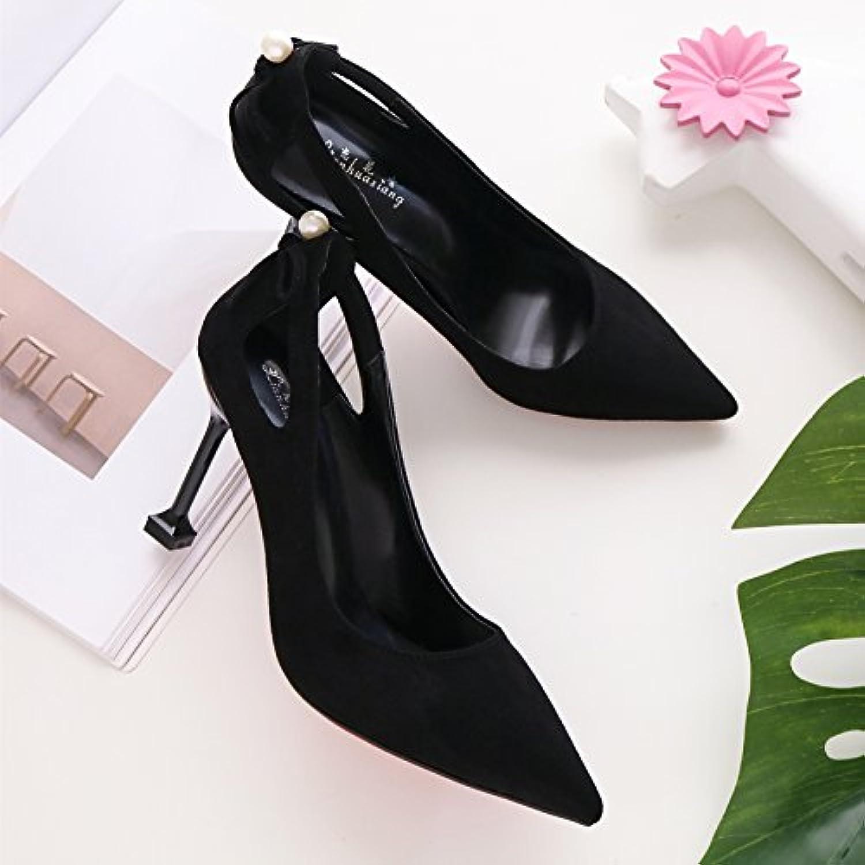 Mujeres salvajes zapatos de tacón alto fino en gato negro con Professional singles femeninos zapatos ,37, negro...