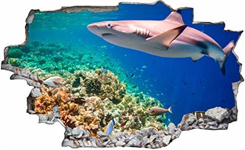 DesFoli Hai Korallen Shark 3D Look Wandtattoo 70 x 115 cm Wanddurchbruch Wandbild Sticker Aufkleber C165 - Shark Wasser