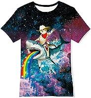 Goodstoworld Camiseta Niño Niña Manga Corta 3D Patrón Impreso T-Shirt Divertidas tee Tops 6-14 Años