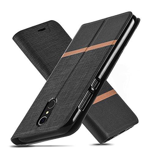 AModern LG Q7 Hülle,LG Q7 Plus Hülle, LG Q7α Hülle,Ultra Slim Fit, Kickstand, Card Slot, TPU Bumper, Anti-Scratch, Flip Leder PU Wallet Case für LG Q7/Q7+ (Black)
