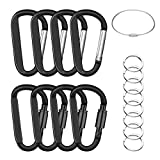 EFIXTK 8PCS 8CM Durable Carabiner Clip 4PCS Locking + 4PCS Nonloking with 8PCS Keyrings + 1PCS Wire Keychain,Improved Aluminum D Ring Caribeaner Hook for Backpack Camping Hiking(Black)
