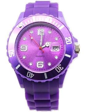 Herrenuhr Damenuhr HOT Silikon Uhr Uhren L (Breit) 4,3 cm mit Datum Lila Trend Watch Style Sport - Verfügt über...