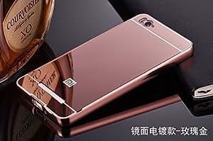 Aryamobi Rose Gold Luxury Metal Bumper + Mirror Back Cover Case For Xiaomi Redmi Mi4i
