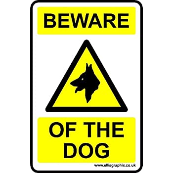 CLEAR Self-adhesive Vinyl Sticker Warning Safety Window Signs Beware of the dog Sign A5-210 x 148mm