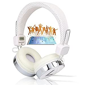 white collapsible DJ Over the head Earphone Headphone for apple ipod, ipad, nano, sony mp4, samsung, ipod touch, samsung galaxy S4 s3, htc one galaxy note II