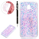 Custodia Galaxy J3 2017, Samsung Galaxy J3 2017 Cover Silicone, SainCat Cover per Samsung Galaxy J3 2017/J330 Custodia Silicone Morbido, Custodia Bling Glitter Ultra Slim Silicone Case Ultra Sottile Morbida TPU Gel Cover Case Shock-Absorption Anti Scivolo Custodia Protettiva Cover Gomma Case Caso Ultra Thin Slim Protettiva Anti-scratch Skin Shell Case Coperture Bumper Cover per Samsung Galaxy J3 2017/J330-Rosa