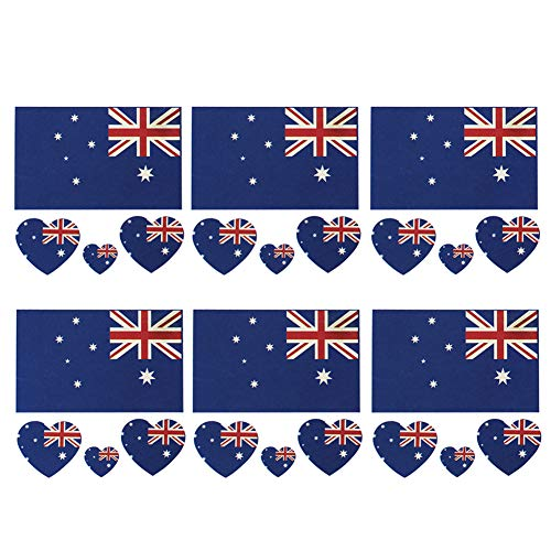 (Naisicatar Australien-Flagge Tattoos Sticker wasserdicht temporäre Tattoos Sweatproof Gesichts-Körper-Dekor-Aufkleber Partydekoration 6pcs / set nützlich und schön)