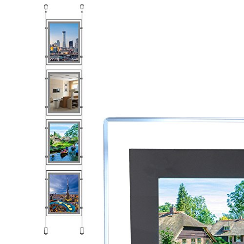 A4Hochformat Immobilien Fenster Aufhängen LED Schild Halter Display Light Box (4Stück in eine Spalte) -