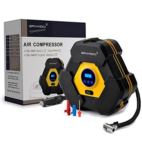 Kompressor,GRANDO 12V Digitaler Manometer,Luftkompressor Reifen Aufblasgerät und Tragbare Auto Reifenpumpe mit LED-Licht