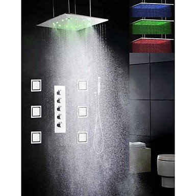 Bang Duscharmaturen - Zeitgenössisch - LED/Regendusche/Seitendüse/Handdusche inklusive - Messing ( Chrom )