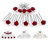 Set da 15 ornamenti per capelli - per acconciature sposa - Forcina nera - Rosso carminio