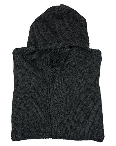 Minetom Donne Casuale Knit Cardigan Jumper Capispalla Lungo Con Cappuccio Manica Tops Grigio
