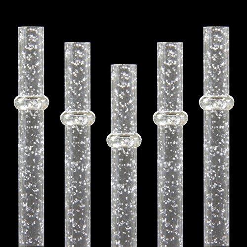 2Stück 22,9cm, 27,9cm wiederverwendbar Klar Kunststoff Glitzer Sparkle Trinkhalm verschiedenen Farben Mason Jar Stroh 28 cm farblos (Mason Jar Trinkgläser Bulk)