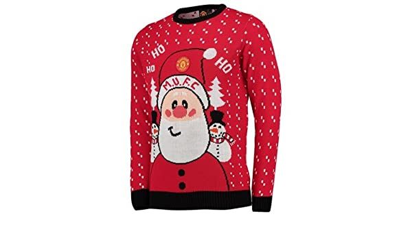 Manchester United Santa Christmas Jumper Red Adult Amazoncouk