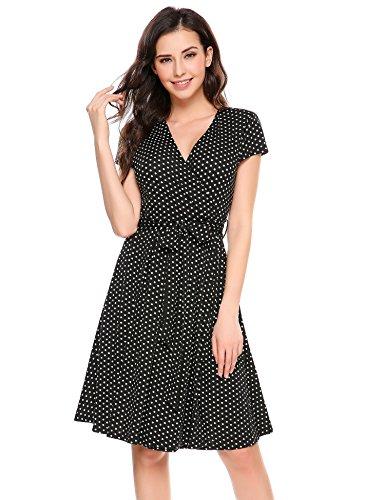 Meaneor Damen tiefen V-Ausschnitt Sommerkleid Vintage Cocktailkleid Polka Dots Tailliert Jerseykleid Stretch Knielang Schwarz