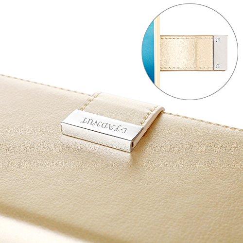 iPhone 7 4,7 Zoll Hülle,L-FADNUT Premium Flip Cover Case PU Leder Tasche,Dual-Kartensteckplitz Metall Megnetic Verschluss Wallet Card Holder Schutz Hülle Etui Schale for iPhone 7 - Rose Gold Gold