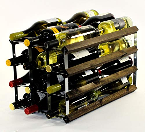 Cranville wine racks Double Profondeur 24 Bouteilles en chêne foncé cassé et étagère à vin en métal galvanisé.