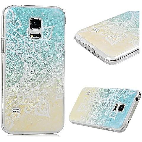 Samsung Galaxy S5 Mini Funda Cubierta - Lanveni® Chic Elegante Carcasa Rigida PC ultra Slim para Samsung Galaxy S5 Mini Pintura Translúcido Protective Case - Patrón Totem flor Diseño 4