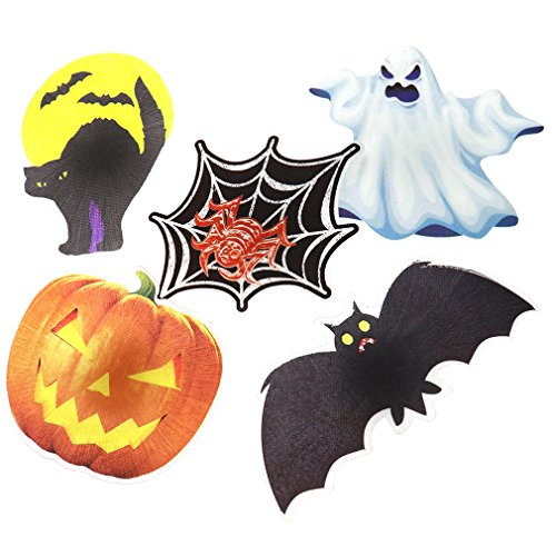 5tlg Halloween Dekoration Geist Kuerbis Fledermaus Katze Spinne Kuehlschrankmagnet LED Deko (Halloween Von Kostüme In Bilder Katzen)