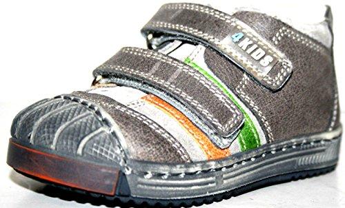 4 KIDS Sport Cherie Kinder Baby Schuhe Jungen Halbschuhe 0347 (ohne Karton) Grau