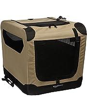 AmazonBasics Portable Folding Soft Dog Travel Crate Kennel - 15.5 x 15.5 x 21 Inches, Tan