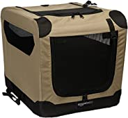 AmazonBasics Portable Folding Soft Dog Travel Crate Kennel - 15.5 x 15.5 x 21 Inches, Tan