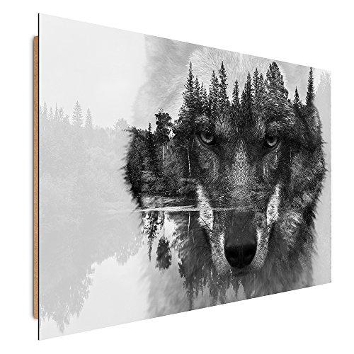 Feeby Frames, Tableau Mural, Tableau Déco, Tableau imprimé, Tableau Deco Panel, 60x90cm, Loup, Noir, Blanc