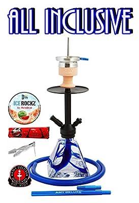 Amy Deluxe Falcon: Pyramiden-Shisha mit Silikonschlauch-Set und Kaminkopf, Geschenk-Set mit Bigg Ice Rockz und 44 Ring-Kohle von Amy Deluxe