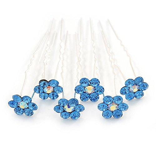 Brautschmuck/Hochzeit/Ball/Party Set von 6Sky Blau österreichischen Kristall Daisy Blumen Haarnadeln in Silber - Daisy Blume-bälle