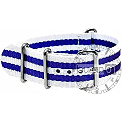 GENUINE BURAN01Military Nylon Watch Band with Dark Blue/White 18mm Watch Strap