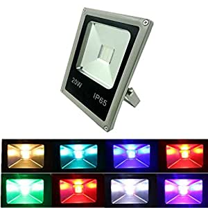 Remote Control 220V 20W RGB LED Flood Lights, Colour Changing LED Security Light, 16 Colours & 4 Modes, Waterproof LED Floodlight, Decorative lamp,Wall Washer Light [Energy Class A+]