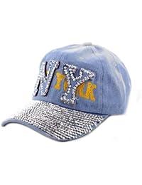 Fabuleuse casquette de New-York en denim NY brodé, avec pierres de Strass sur la visière. Un look a ne pas manqué pour cette été. Offert par NYfashion101. H317