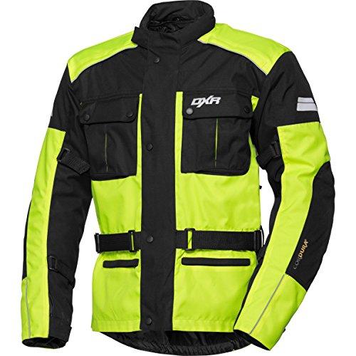 Motorradjacke DXR Herren Textiljacke, wasserdichte, atmungsaktive Klimamembran, herausnehmbares Thermosteppfutter, Verbindungsreißverschluss, Armweitenverstellmöglichkeiten, Schwarz und Neon Gelb, 3XL