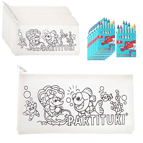 Partituki Mitgebsel Kindergeburtstag Junge 15 Federmäppchen Zu Malen, 15 Sets mit 7 Farbige Crayons. Kleine Geschenke für Kinderparty. Pinata Füllung. Ungiftig Zertifiziert