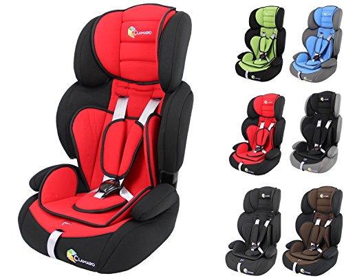 Clamaro 'Guardian 2018' Kinderautositz 9-36 kg verstellbar und mitwachsend, Auto Kindersitz für Kinder von 1-12 Jahre, Gruppe 1/2/3, ECE R44/04, Farbe: Schwarz Rot
