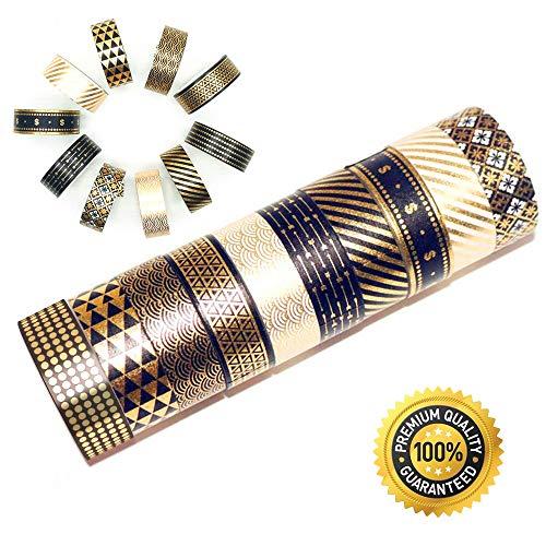 Little Roger 10 Rollen Gold Folie Tape Set mit,Masking Tape schwarz-goldene Foliendruck,Masking Klebeband für DIY Handwerk Washi Tape Dekoband (Niello) [EINWEG]