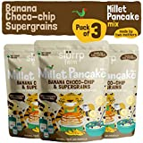Slurrp Farm Millet Pancake Mix : Banana Choco-chip and Supergrains (Pack of 3)