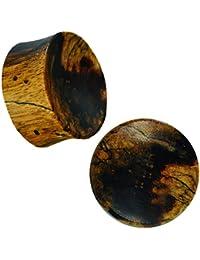Holz Tunnel breit dunkelbraun braun gemasert konkav Tribal Piercing