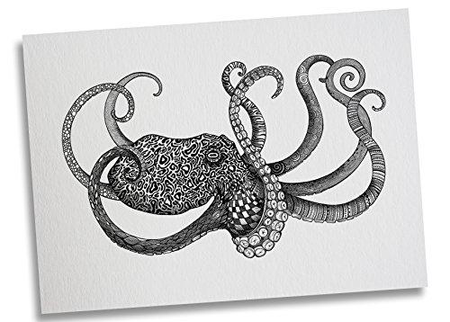 Ligarti Postkarte Oktopus - Premium Bambus Papier 350g - 100% Handmade in Deutschland - Krake Tiefsee Wasser Zeichnung, Grußkarte, Deko, Geschenkkarte, Einladung
