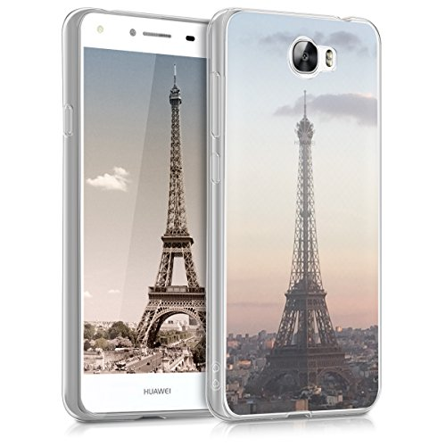 kwmobile Huawei Y6 II Compact (2016) Hülle - Handyhülle für Huawei Y6 II Compact (2016) - Handy Case in Anthrazit Rosa Transparent