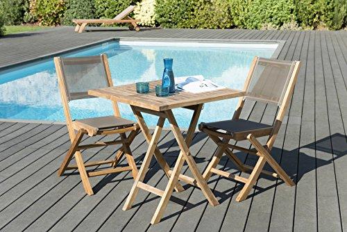 MACABANE 509610 Salon de Jardin Couleur Naturel/Taupe en Teck et Textilène Dimension