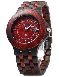 Bewell ZS - 080A Reloj para Hombre de Cuarzo Madera Luminosa Impermeable(Rojo)