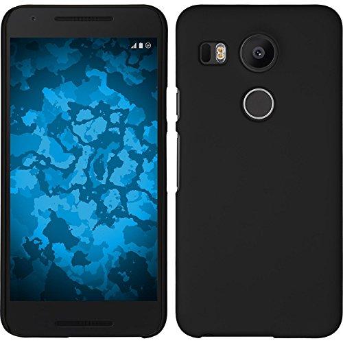 PhoneNatic Case kompatibel mit Google Nexus 5X - Hülle schwarz gummiert Hard-case + 2 Schutzfolien 5 X Hard Case