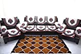 Kingly Maroon Sofa Cover With Arm Set Of 12Pc(3+1+1) Use Both Side Product Id;Peacock05