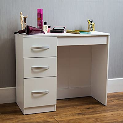 Home Discount Hulio High Gloss 3 Drawer Dressing Table, White, Dressing Table Makeup Computer Desk Bedroom Furniture - inexpensive UK light store.