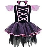 iEFiEL Déguisement Enfant Filles Robe + Serré-tête l'Oreill de chat Costume Carnaval 2-10 Ans Noir 9-10 ans